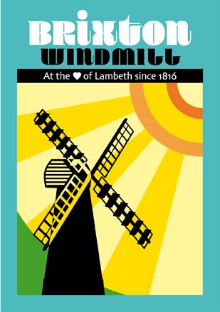 Brixton Windmill greeting card - retro design