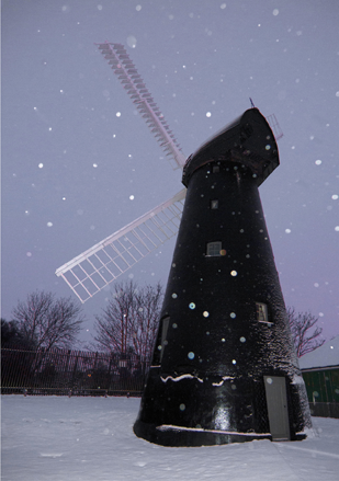 Brixton Windmill greeting card - snow
