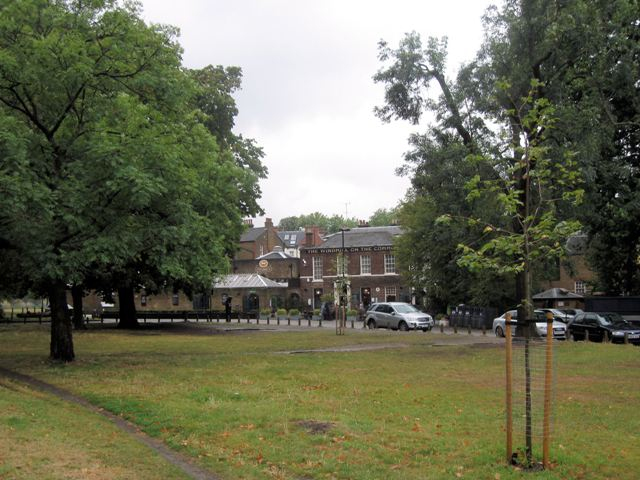The green in front of the Windmill pub on Clapham Common