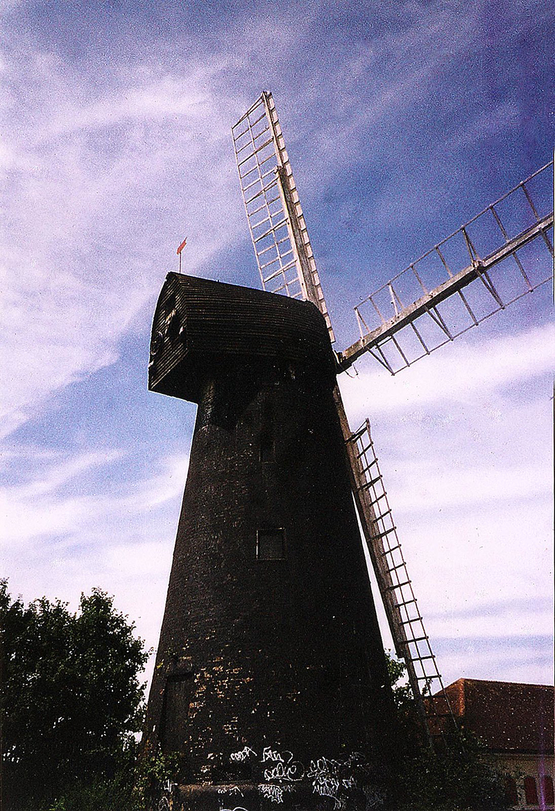 brixton windmill with blue sky