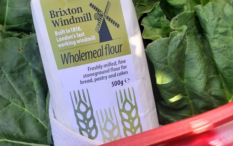 Picture of Brixton Windmil Flour and some Rhubarb