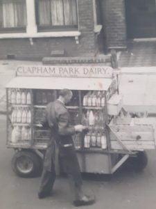 Clapham Park Dairy Milk Man and his milk float